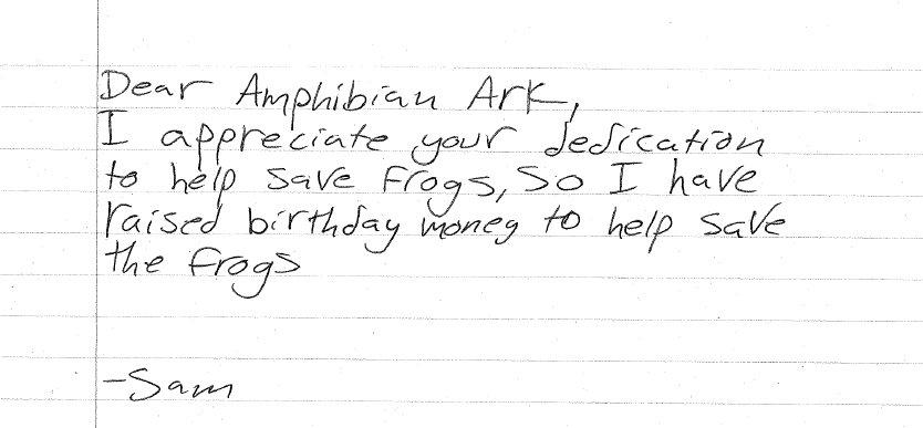 Sam's birthday donation