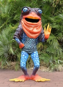 Perth Zoo's Sunset Frog mascot, which made its debut on Leap Day.
